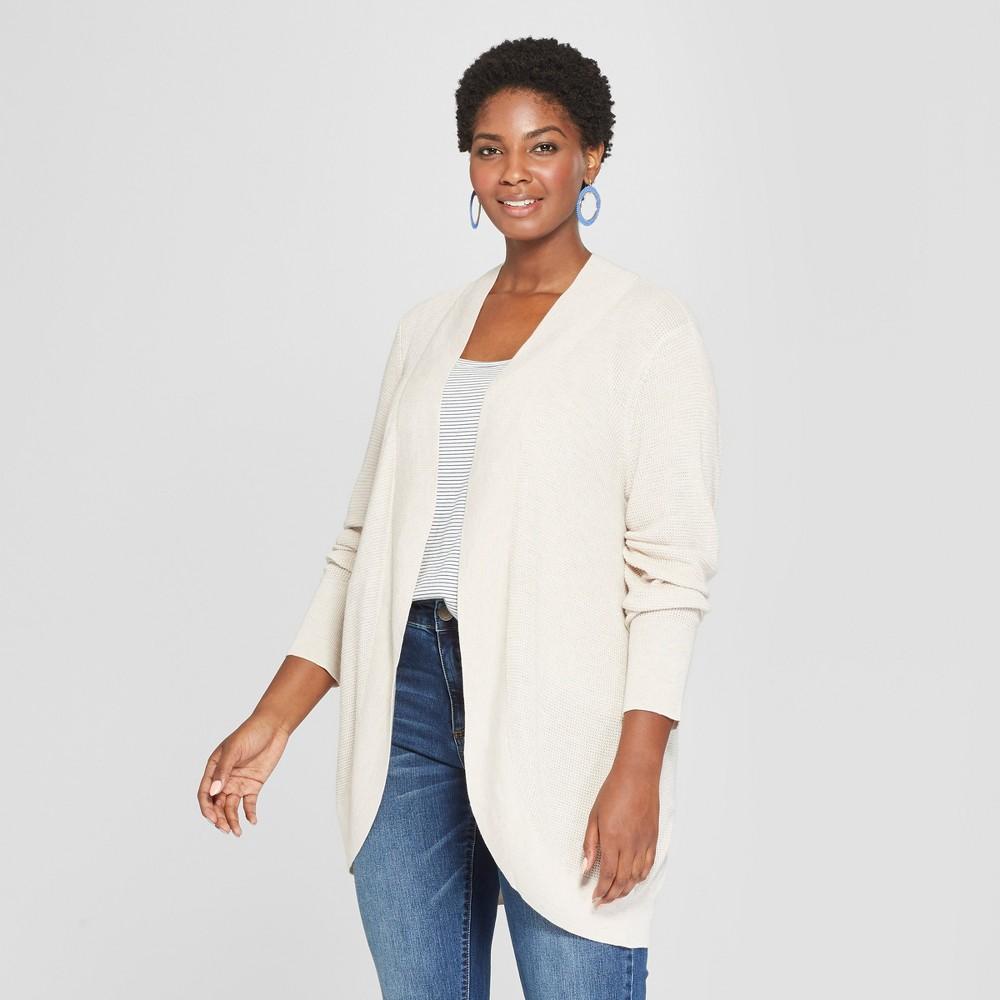 Women's Plus Size Cocoon Cardigan - Ava & Viv Beige 1X