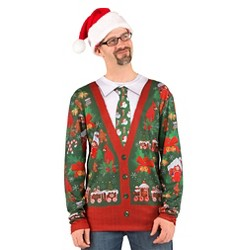 Men's Costume Ugly Christmas Cardigan, Long Sleeve Tee
