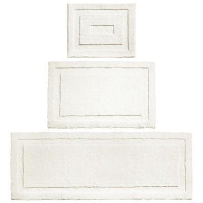 mDesign Soft Microfiber Polyester Bathroom Spa Mat Rugs/Runner, Set of 3 - Ivory