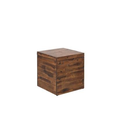 """17.75"""" Cassian Storage Cube Trunk Dark Brown - Summerland Home"""