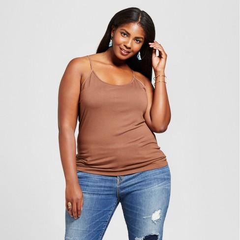 570037d9abb Women s Plus Size Core Cami - Ava   Viv™ Brown 4X   Target