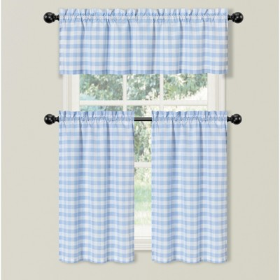 Kate Aurora Country Farmhouse Living Blue Plaid Gingham 3 Pc Kitchen Curtain Tier And Valance Set - 56 in. W x 36 in. L