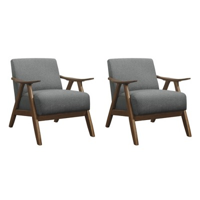Lexicon Damala Collection Retro Inspired Wood Frame Accent Chair Seat with Polyester Fabric for Living Rooms and Offices, Grey (2 Pack)