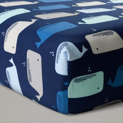 Fitted Crib Sheet Whales -Navy- Cloud Island™