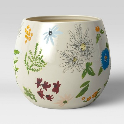 Floral Painted Planter White/Blue - Opalhouse™
