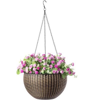 "Gardenised 10"" Self Watering Bronze Hanging Basket Flower Planter"