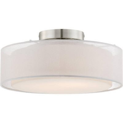 "Possini Euro Design Modern Ceiling Light Flush Mount Fixture Sheer Opal White Dual Drum Shade 12 1/2"" Wide for Bedroom Hallway"