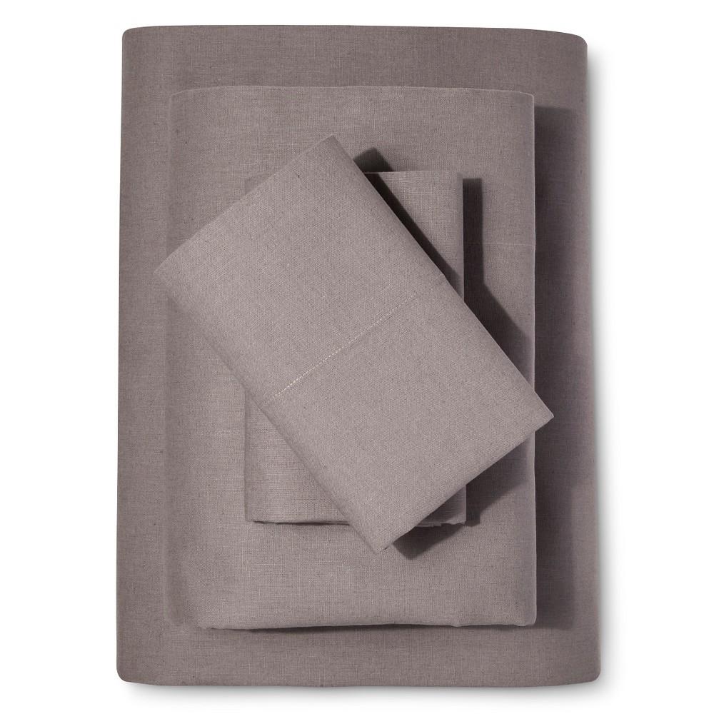 Image of Washed Linen Cotton Blend Sheet Set (Queen) Gray - Loft New York