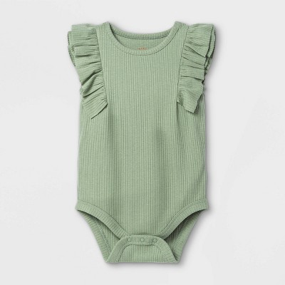 Baby Girls' Ruffle Ribbed Bodysuit - Cat & Jack™ Light Olive 12M