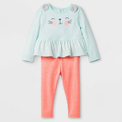 Baby Girls' 2pc Critter Peplum Bunny Face Bodysuit And Leggings Set - Cat & Jack™ Green/Orange 6-9M