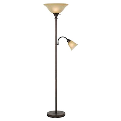 Cal Lighting Rust finish Metal Torchiere Floor Lamp with side reading light - image 1 of 1