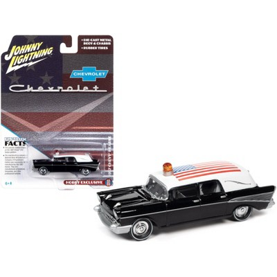1957 Chevrolet Hearse Black with White Top and American Flag Graphics 1/64 Diecast Model Car by Johnny Lightning