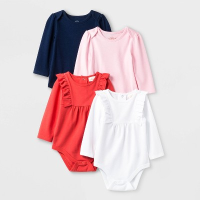 Baby Girls' 4pk Long Sleeve Bodysuit Set - Cat & Jack™ Pink/White/Navy/Red 18M