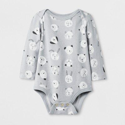 Baby Boys' Long Sleeve Bodysuit - Cat & Jack™ Gray <br>0-3M