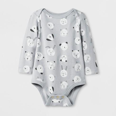 Baby Boys' Long Sleeve Bodysuit - Cat & Jack™ Gray - image 1 of 1
