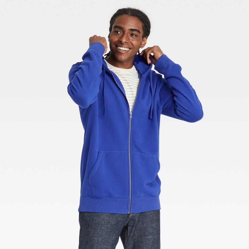 Men 39 S Fleece Full Zip Hoodie Sweatshirt Goodfellow 38 Co 8482 Blue Xl
