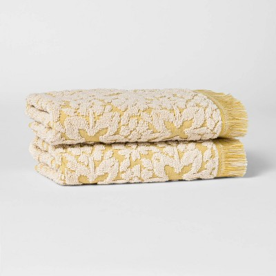 2pk Terry Plaid Hand Towel Set Yellow - Threshold™