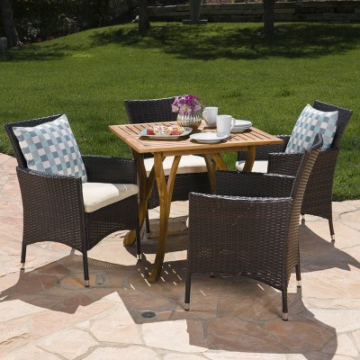 Danby 5pc Acacia Wood Wicker Dining Set - Brown/Beige - Christopher Knight Home