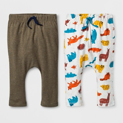 Baby Boys' 2pk Jogger Pants one pair with Critter Print and one pair with Solid Color - Cat & Jack™ Green/Gray 3-6M