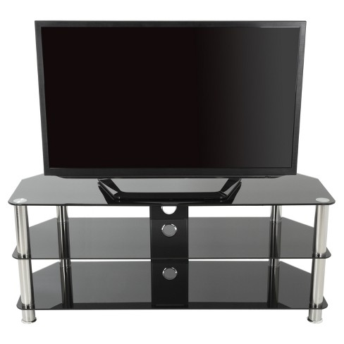 "60"" TV Stand with Cable Management - Silver/Black - image 1 of 6"