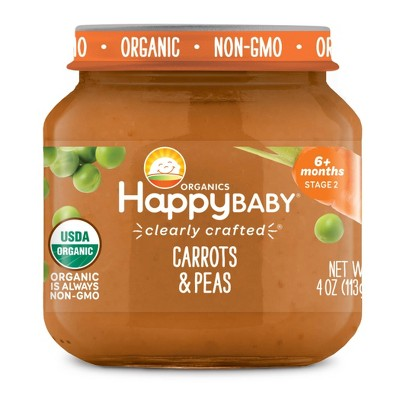 HappyBaby Clearly Crafted Carrots & Peas Baby Meals Jar - 4oz