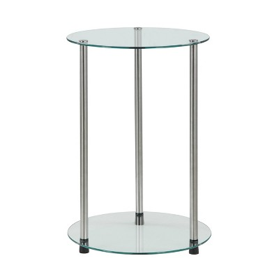 Classic Glass 2 Tier Round End Table Clear Glass - Breighton Home