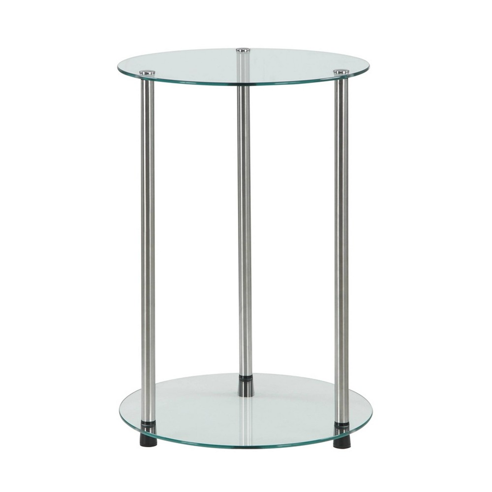 Image of Classic Glass 2 Tier Round End Table Clear Glass - Johar Furniture
