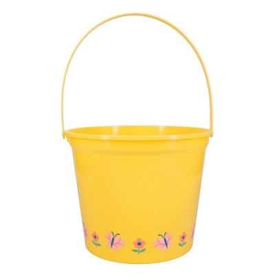 Jumbo Plastic Easter Bucket Printed Boarder with Stickers Yellow - Spritz™