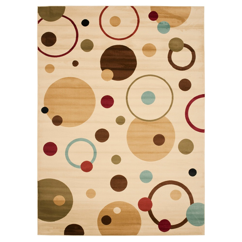 Ivory/Multi Abstract Tufted Area Rug - (6'7
