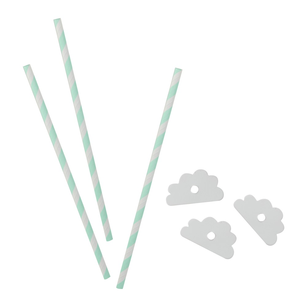16ct Ginger Ray Cloud Paper Straws Hello World, Multi-Colored