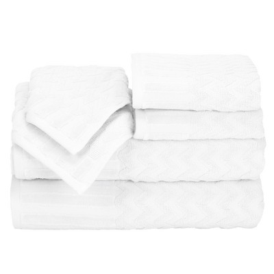 Chevron Bath Towels And Washcloths 6pc White - Yorkshire Home