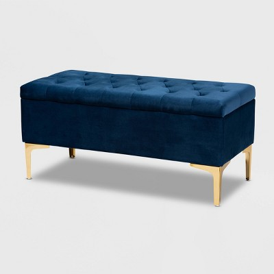 Valere Velvet Upholstered Button Tufted Storage Ottoman - Baxton Studio