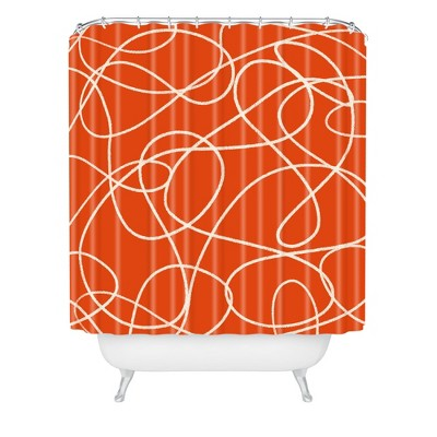 Scribble up Shower Curtain Red - Deny Designs