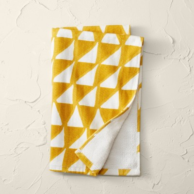 Geometric Print Flat Woven Hand Towel Yellow - Opalhouse™ designed with Jungalow™