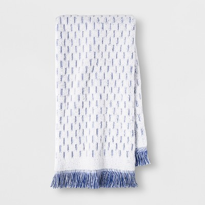 Small Stripes with Fringe Hand Towel Blue/White - Opalhouse™