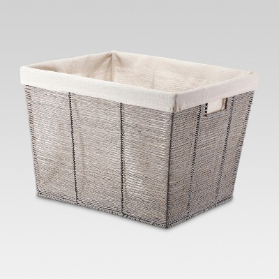 Rectangular Twisted Paper Rope Laundry Basket Gray - Threshold™