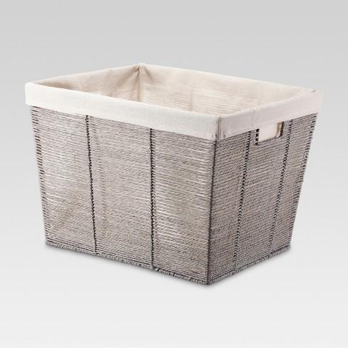 Rectangular Twisted Paper Rope Laundry Basket Gray - Threshold™ - image 1 of 1