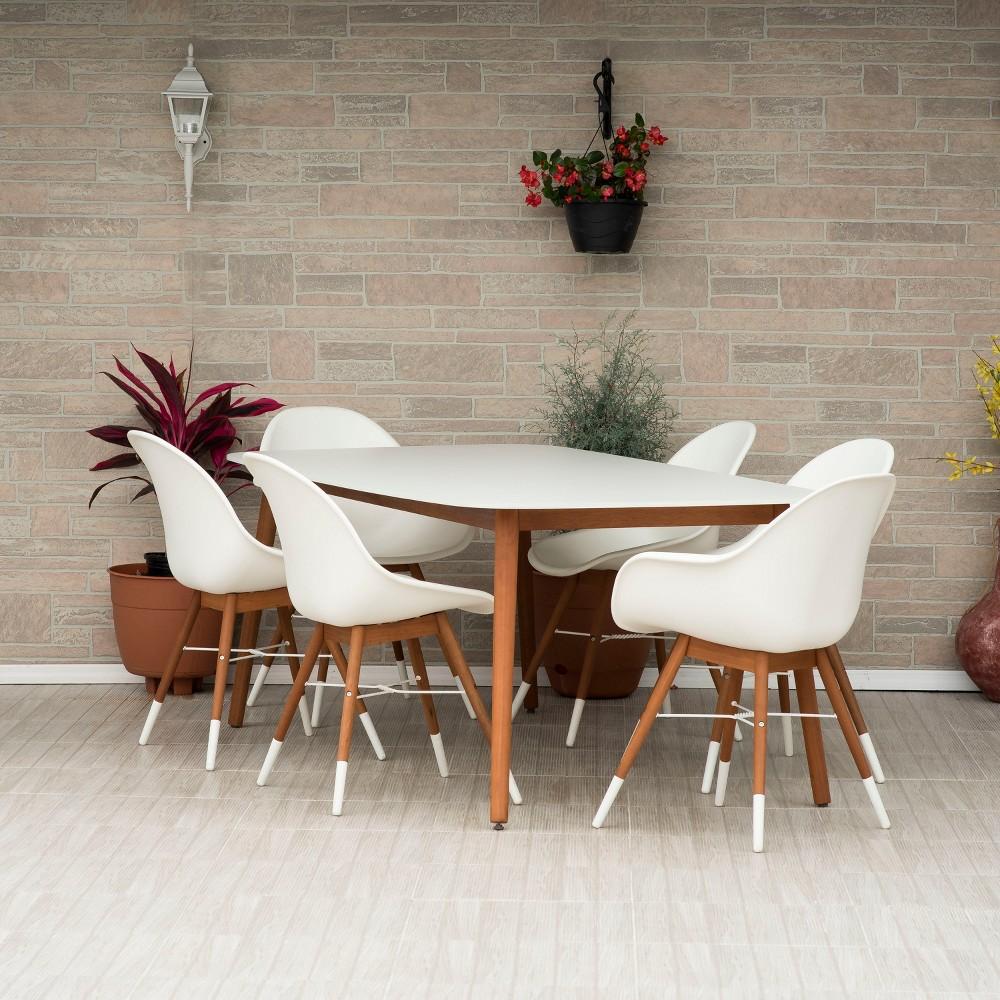 7pc Metz Rectangular Eucalyptus Patio Dining Set White - Amazonia