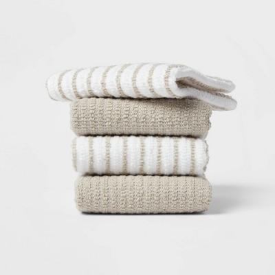 4pk Cotton Dishcloths Gray - Room Essentials™