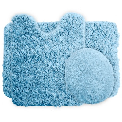 3pc Solid Super Plush Non-Slip Bath Mat Rug Set Blue - Yorkshire Home