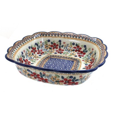 Blue Rose Polish Pottery Red Daisy Small Square Serving Dish