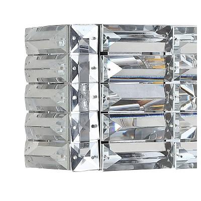 LED Light Iron/Crystal Glam Evelyn Rectangle Pendent Chrome - JONATHAN Y