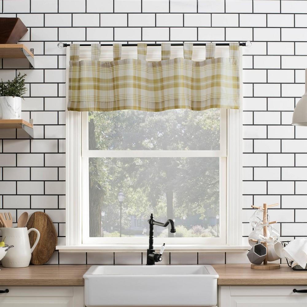 "Image of ""14""""x52"""" Blair Farmhouse Plaid Semi-Sheer Tab Top Kitchen Curtain Valance Gold/Black - No. 918"""