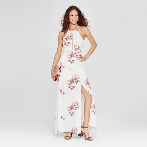 f60d32d5c81 Women s Floral Print Halter Maxi Dress - Love   First Sight (Juniors ) White