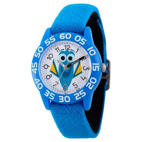 Boys' Disney Finding Dory Blue Plastic Time Teacher Watch - Blue/Black - image 1 of 2