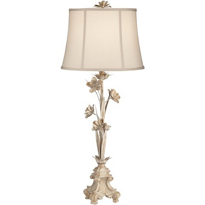 Regency Hill Country Cottage Console Table Lamp Antique White Floral Vine Candlestick Beige Bell Shade for Living Room Bedroom