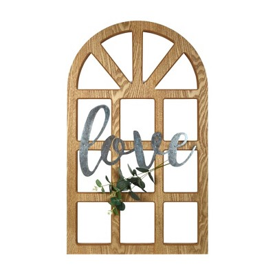 """18"""" x 30"""" Love Cathedral Window Hanging Wall Sign Neautral Gray - Prinz"""