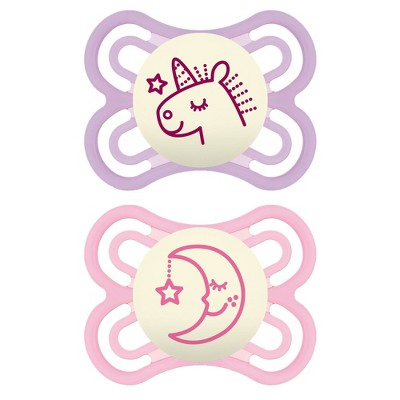 MAM Perfect Night Pacifier 2ct - Purple/Pink - 0-6 Months