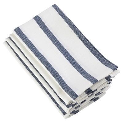 4pk Navy Blue Striped Printed Design Napkin 20  - Saro Lifestyle®