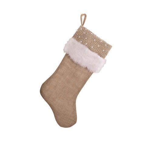 Saro Lifestyle Faux Fur and Beaded Christmas Stocking - image 1 of 3